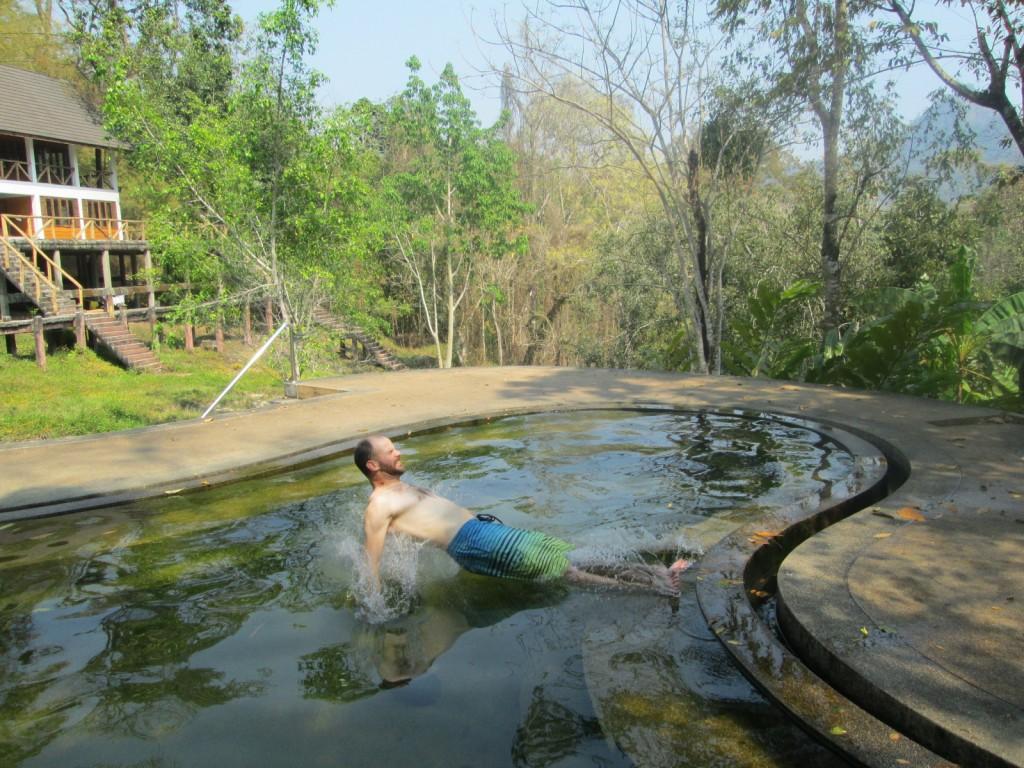 Taking a mineral bath