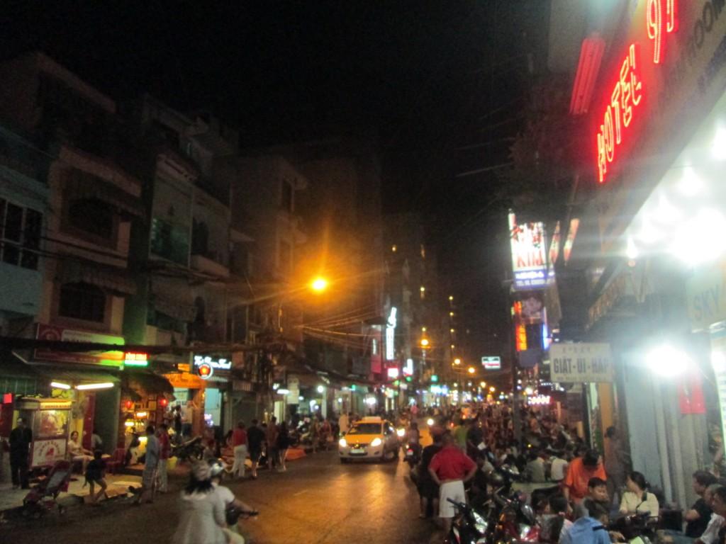 Le quartier touristique de nuit