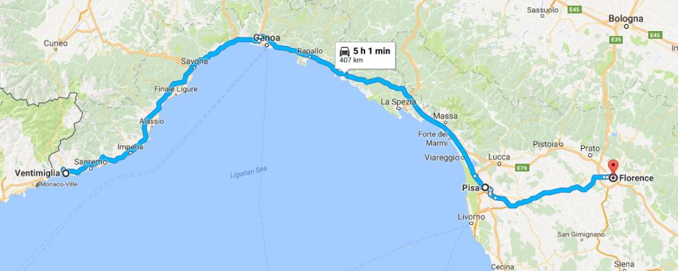 Ventimiglia, Italie - (Pise, Italie) - Florence, Italie