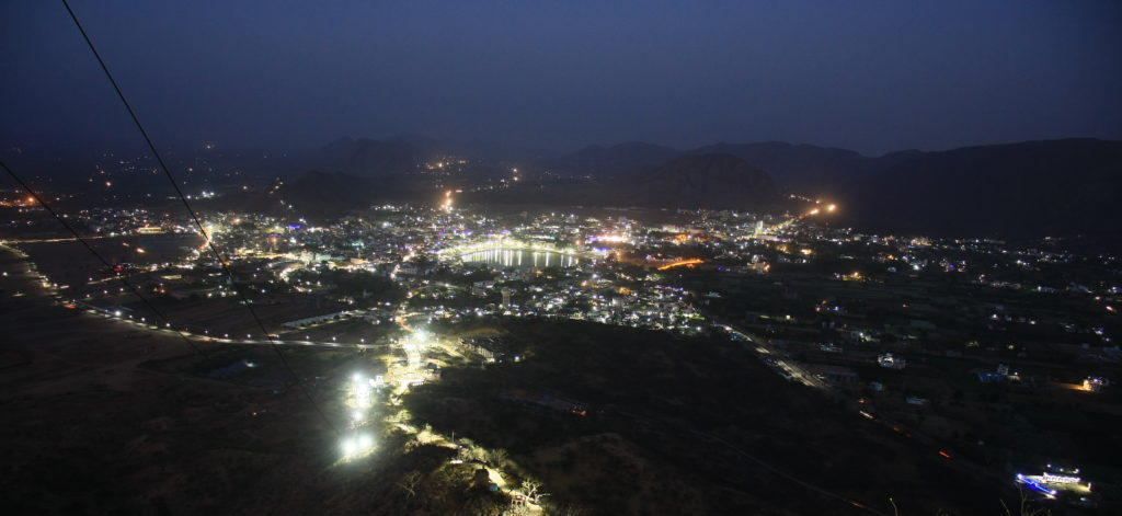 Vue de nuit de Pushkar, Rajasthan, Inde