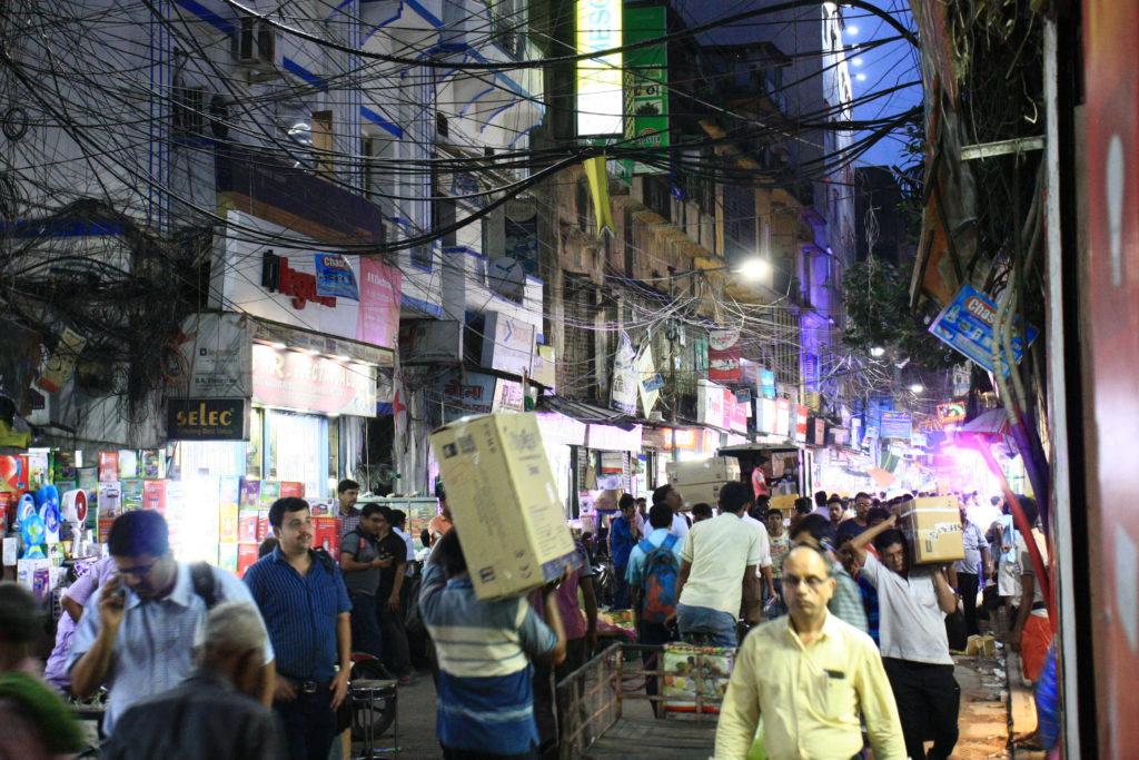 Rue commercante de Kolkata, Inde