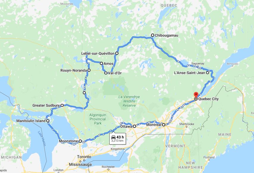 Tour du Nord du Québec et de l'Ontario